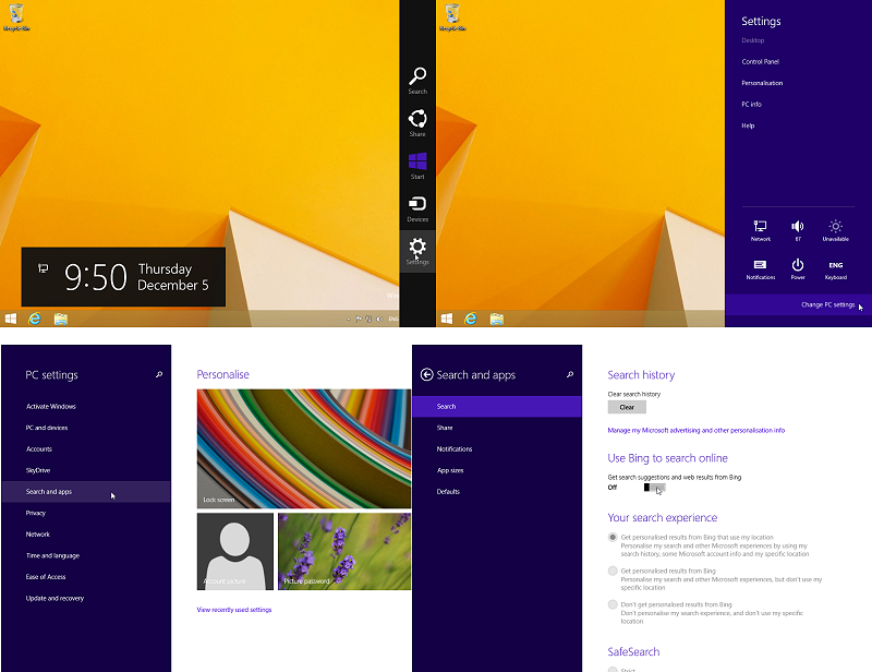 Win 8.1 - How to turn off Bing from the internal search engine