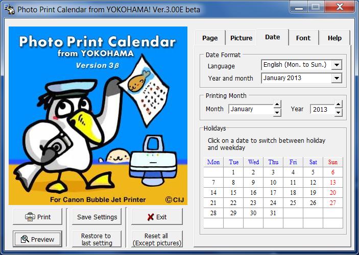 Photography Calendar Printing : Photo print calendar screenshot topfreeware